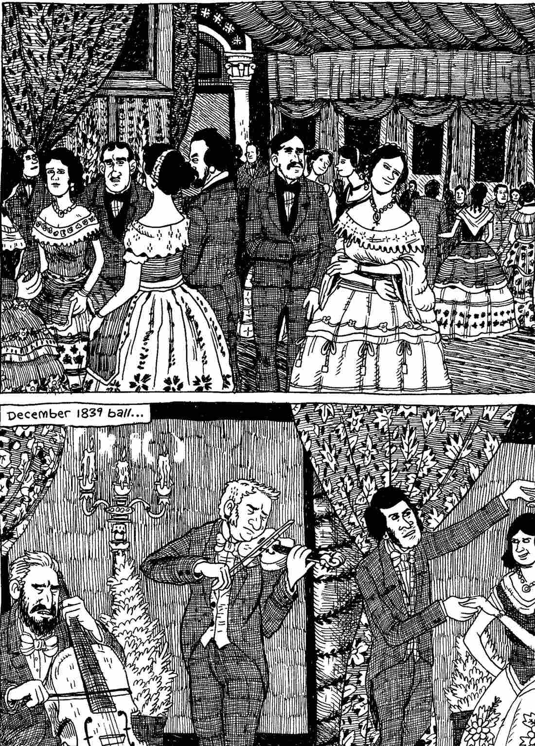 Fancy types, cuttin' loose. From The Hypo: The Melancholic Young Lincoln © 2012 Noah Van Sciver