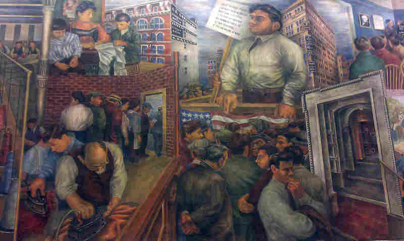 A section of Ben and Bernarda Shahn's mural in Roosevelt, N.J.'s elementary school depicts the plight of laborers.