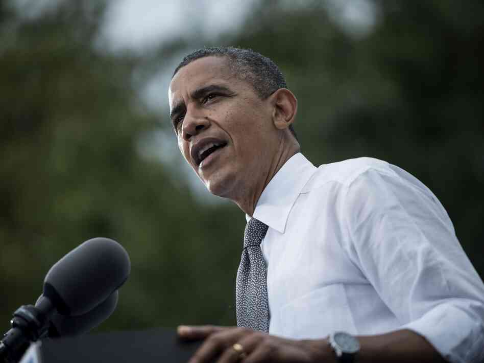 Barack Obama speaks during a campaign event at Schiller Park September 17, 2012 in Columbus, Ohio.
