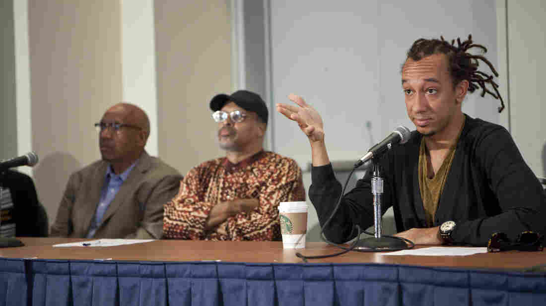 Gerald Clayton, right, was joined on the panel by Mtume (center) and Willard Jenkins.