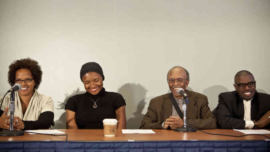 From left to right, the panel included Terri Lyne Carrington, Lizz Wright, Jimmy Heath and Antonio Hart.