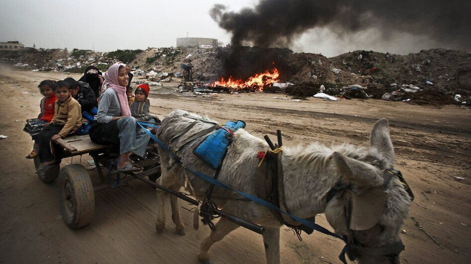 A Palestinian family rides on a donkey cart along a waste dump in Al-Nusirat, central Gaza Strip, in February. Living conditions continue to deteriorate for the 1.8 million Palestinians who reside in Gaza. (EPA/Landov)