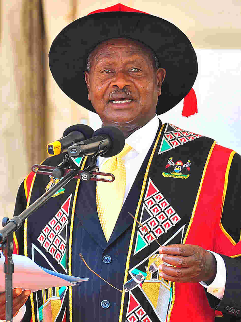 Ugandan President Yoweri Museveni, who has ruled since 1986, speaks in January at Uganda's Makarere University in the capital Kampala. Uganda celebrates a half-century of independence next month, and Museveni has ruled for more than half of that time.