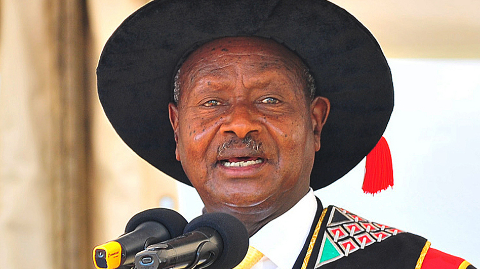 Ugandan President Yoweri Museveni, who has ruled since 1986, speaks in January at Uganda's Makarere University in the capital Kampala. Uganda celebrates a half-century of independence next month, and Museveni has ruled for more than half of that time. (AFP/Getty Images)