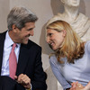 Dr. Vanessa Kerry talks with her father, Sen. John Kerry, before he delivers a speech on health care in Boston.