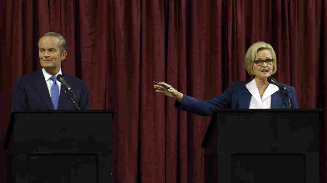 """Republican Rep. Todd Akin and incumbent Democratic Sen. Claire McCaskill debate Friday in Columbia, Mo. McCaskill had once been considered among the most vulnerable Senate Democrats until Akin made comments about """"legitimate rape."""" The candidates were asked about Akin's controversial statement at the start of Friday's debate."""
