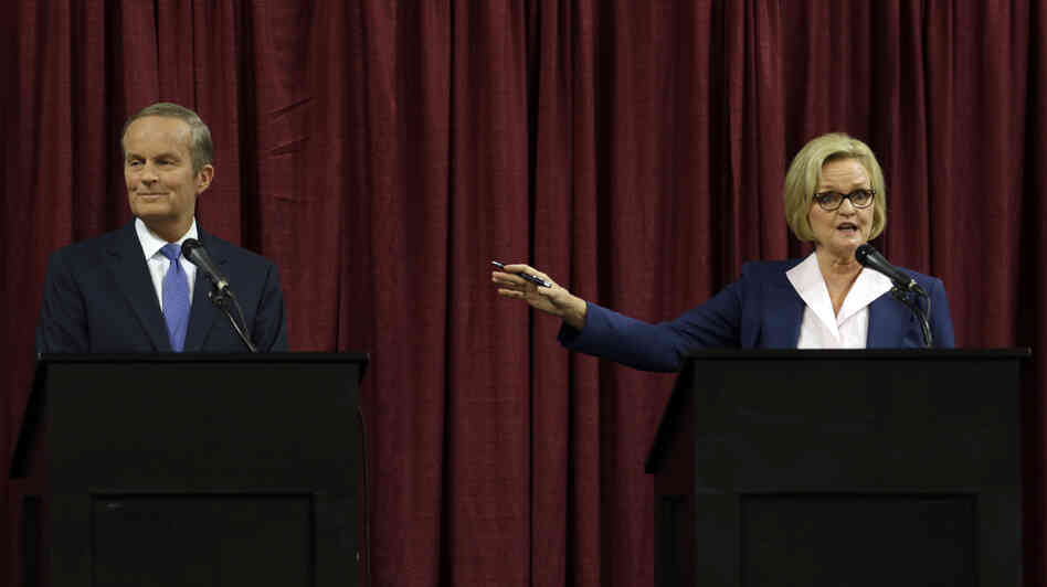 "Republican Rep. Todd Akin and incumbent Democratic Sen. Claire McCaskill debate Friday in Columbia, Mo. McCaskill had once been considered among the most vulnerable Senate Democrats until Akin made comments about ""legitimate rape."" The candidates were asked about Akin's controversial statement at the start of Friday's debate."