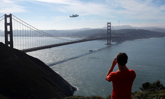 Endeavour passed by the Golden Gate Bridge today.