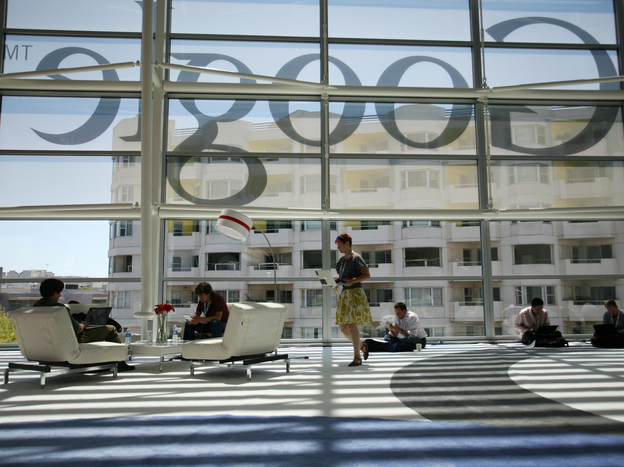 A Google logo is seen through windows of Moscone Center in San Francisco during Google's annual developer conference, Google I/O, in June. Google is one of several major tech companies known for the