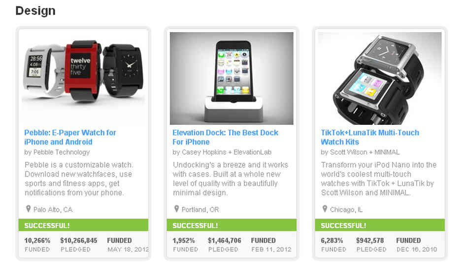 A screengrab shows three highly funded Design projects currently on Kickstarter's site. The company's founder say they will require more information about the challenges potenti