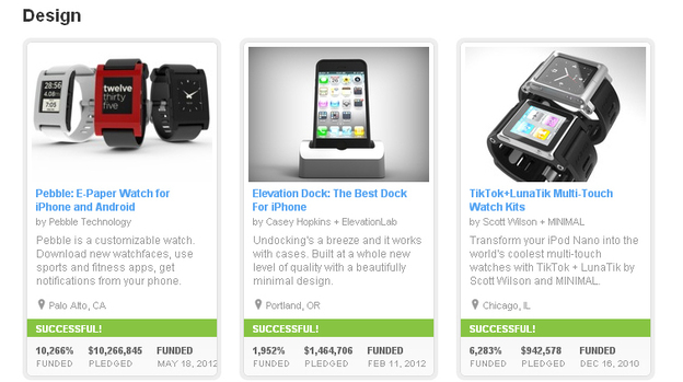 A screengrab shows three highly funded Design projects currently on Kickstarter's site. The company's founder say they will require more information about the challenges potential entrepreneurs could face.