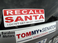 A bumper sticker on the car of Bob Greenwood of Baraboo, Wis.