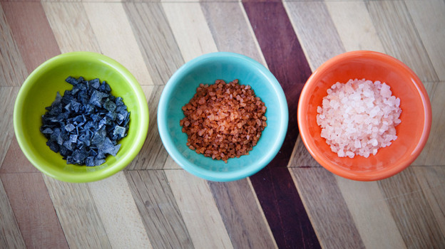 The Salt's most colorful salts. From left to right: Cypress black lava, red Hawaiian, and pink Bolivian rose. (NPR)