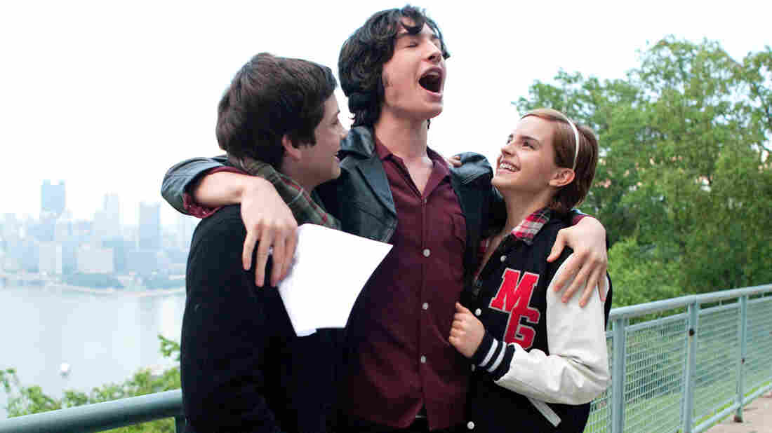 Charlie (Logan Lerman), Patrick (Ezra Miller) and Sam (Emma Watson) navigate the joys and pains of high school in The Perks of Being a Wallflower.