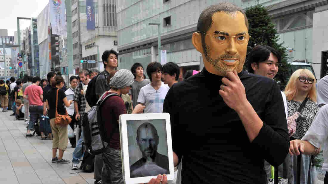 In Tokyo today, a customer on line for the iPhone 5 was wearing a Steve Jobs mask.
