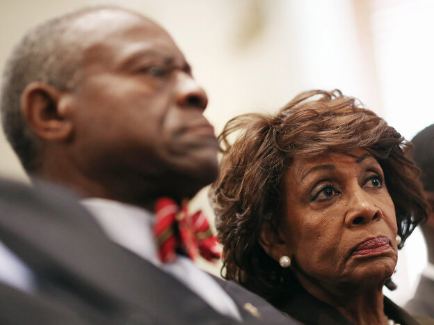 Rep. Maxine Waters, D-Calif., and her husband Sidney Williams at the Capitol Hill hearing t