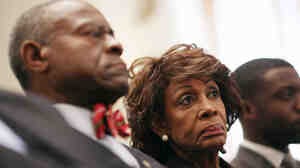 Rep. Maxine Waters, D-Calif., and her husband Sidney Williams at the Capitol Hill hearing today where it was announced that she's been cleared.