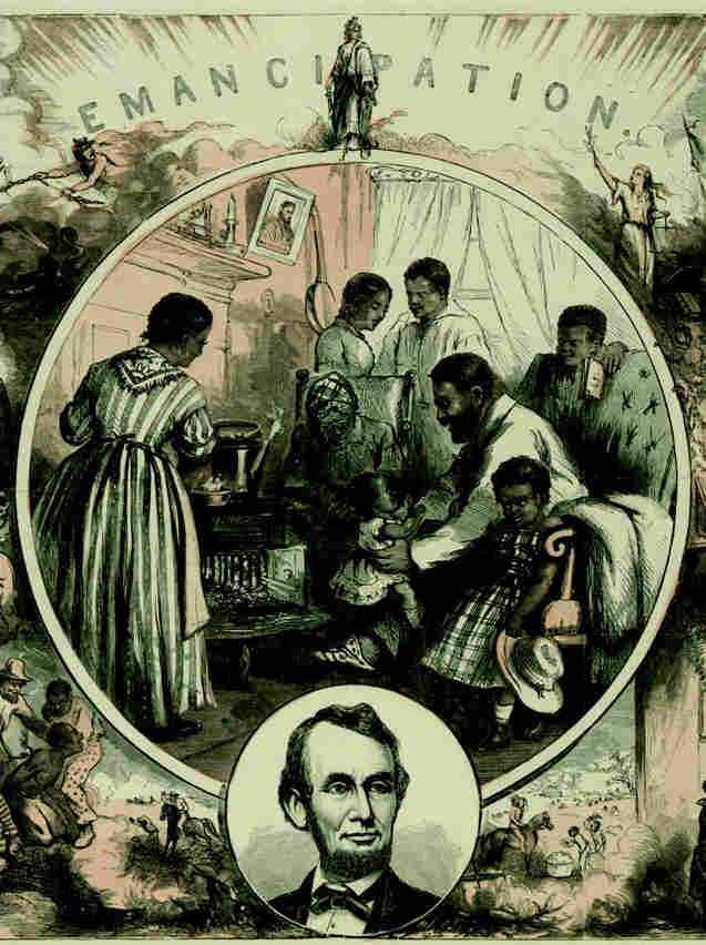 Emancipation, a wood engraving by Thomas Nast in 1865. The official Emancipation Proclamation was signed in 1863.