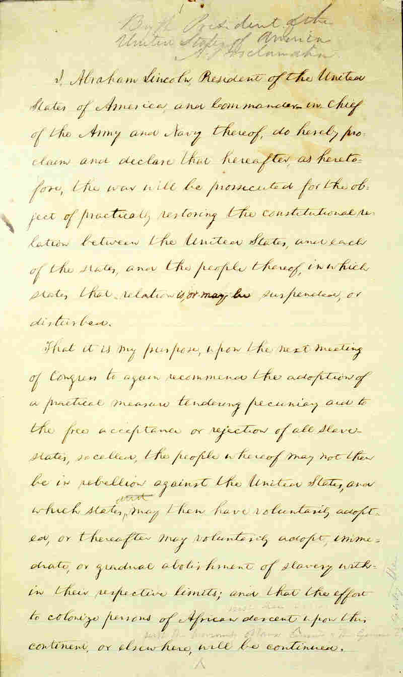 Page 1 of Abraham Lincoln's hand-written Preliminary Emancipation Proclamation.