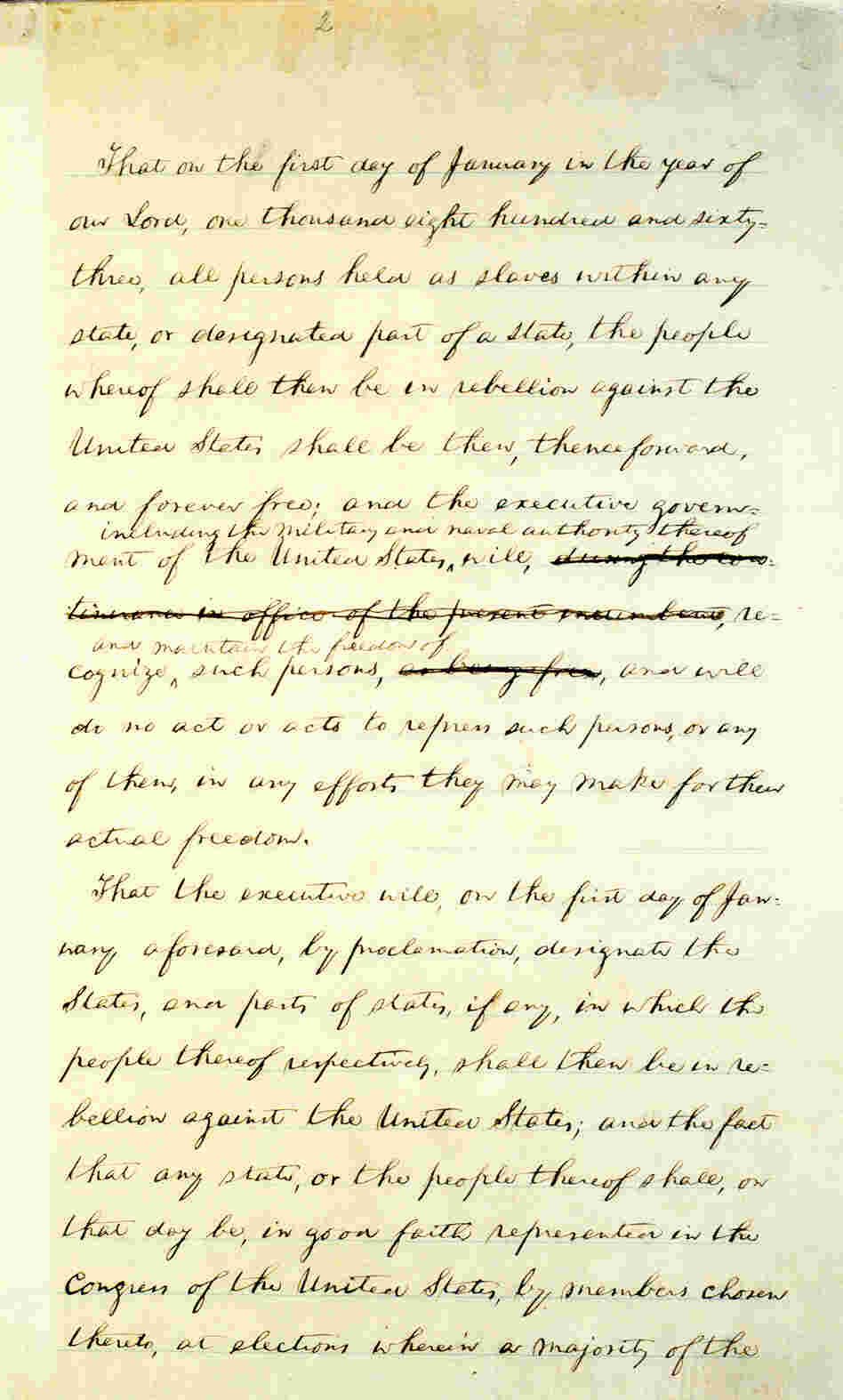 Page 2 of Abraham Lincoln's hand-written Preliminary Emancipation Proclamation.