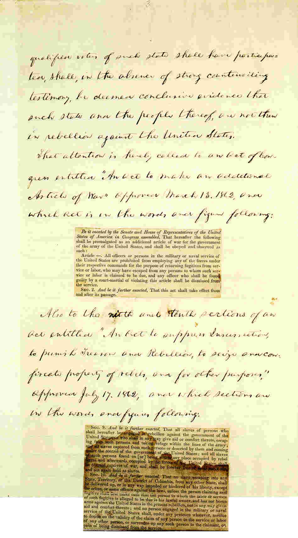 Page 3 of Abraham Lincoln's hand-written Preliminary Emancipation Proclamation.