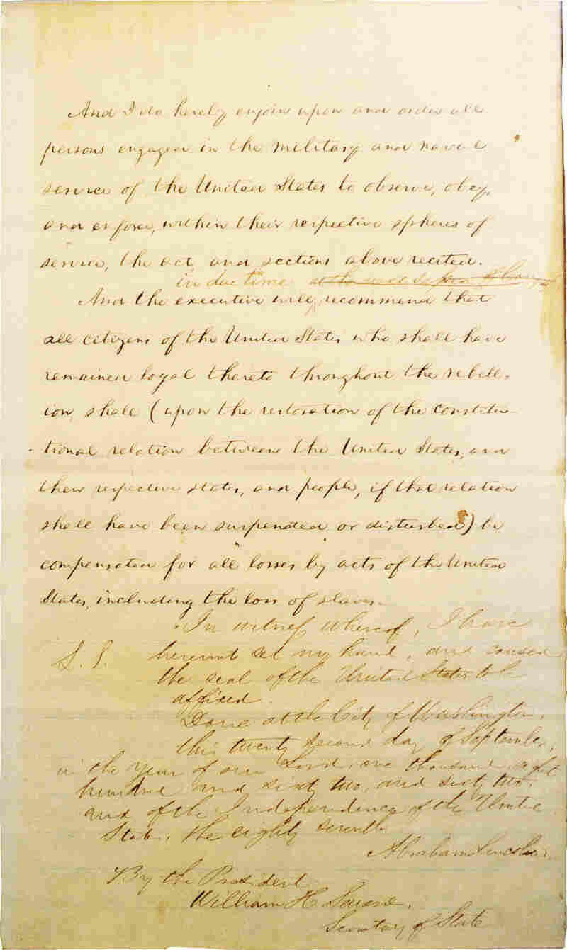 Page 4 of Abraham Lincoln's hand-written Preliminary Emancipation Proclamation.