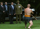 U.S. Secretary of Defense Leon Panetta is given a traditional Maori welcome onto the grounds of the Government House on Friday in Auckland, New Zealand.