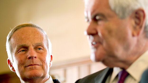 Missouri Senate candidate Rep. Todd Akin is joined by former House Speaker Newt Gingrich at an Akin campaign event Monday in Kirkwood, Mo.