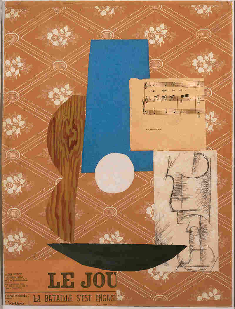 In his 1912 collage Guitar, Sheet Music, and Glass, Pablo Picasso included a fragment of the French paper Le Journal.