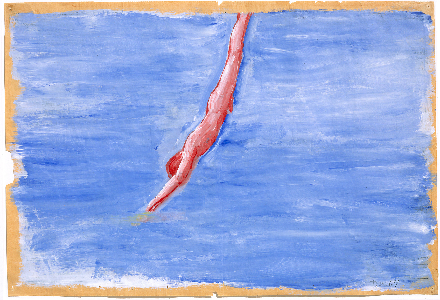 In his 1970 work Untitled (Diver), Paul Thek uses acrylic on newspaper. The newspaper buckles under the paint, making waves beneath the diver.