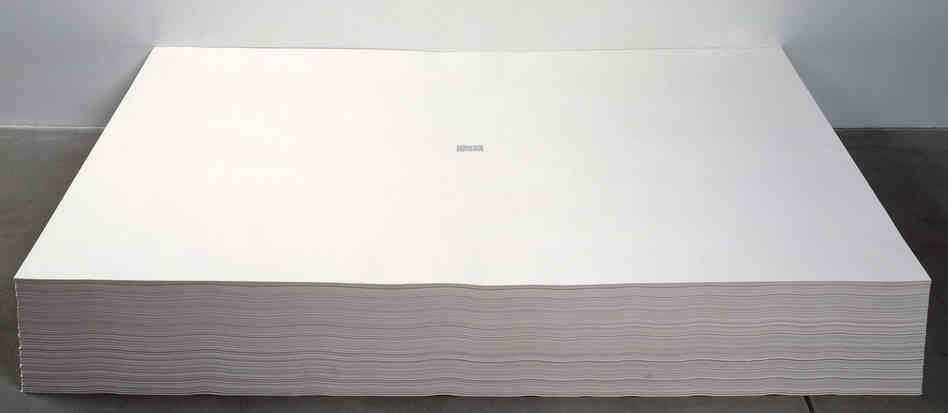 Felix Gonzalez-Torres' untitled 1991 work consists of a stack of papers, each with a tiny excerpt from The New York T