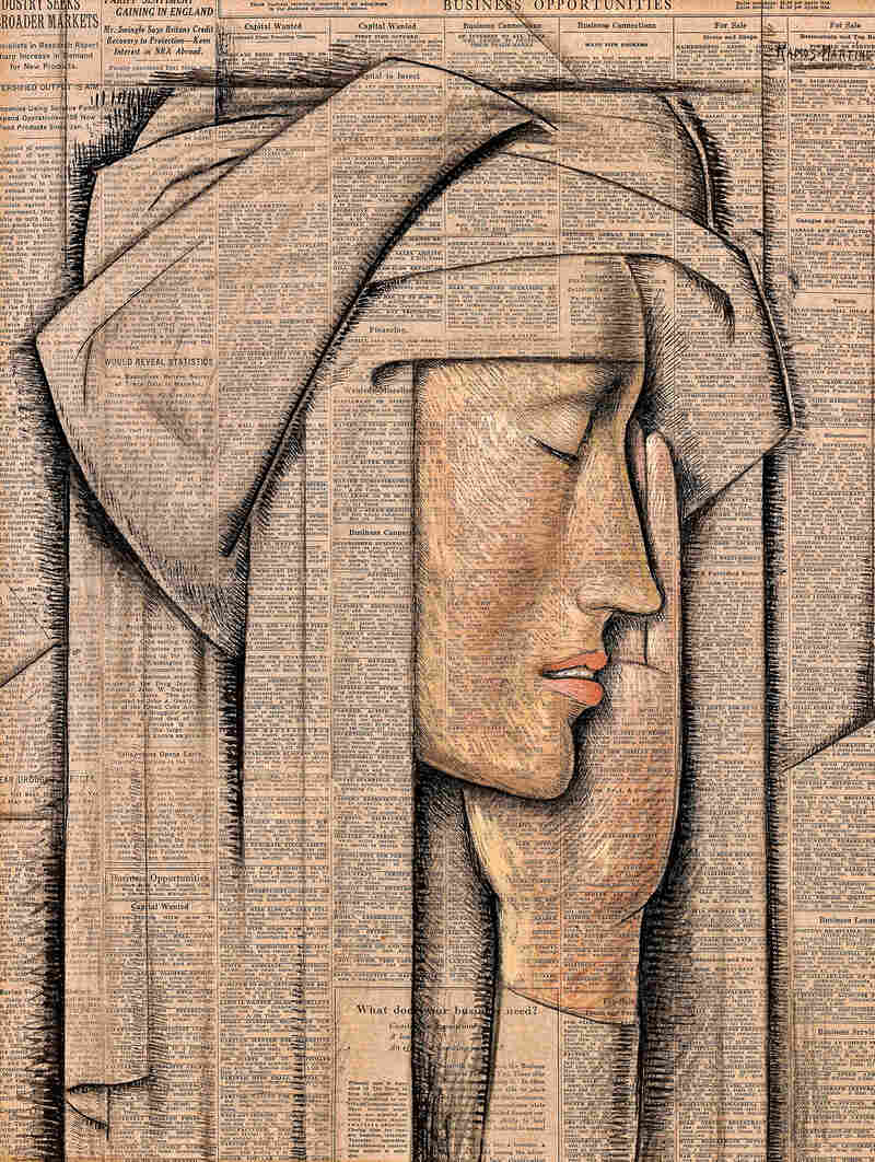 Alfredo Ramos Martinez painted Head of a Nun, tempera on newspaper, in 1934.