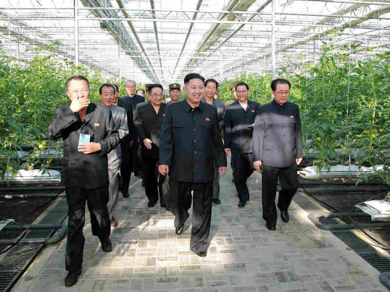 North Korean leader Kim Jong Un (center) visits the Pyongyang Vegetable Science Institute in the country's capital in this undated picture released by North Korea's official Korean Central News Agency (KCNA) via the Korean News Service on Sept. 22.