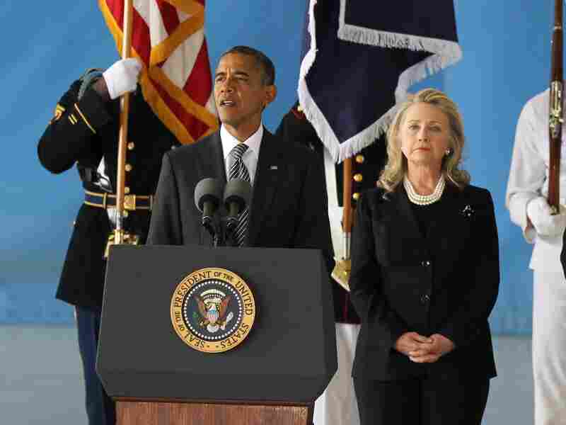 President Barack Obama speaks during the Transfer of Remains Ceremony for the return of Ambassador Christopher Stevens and three other Libyan embassy employees after the attack in Benghazi.