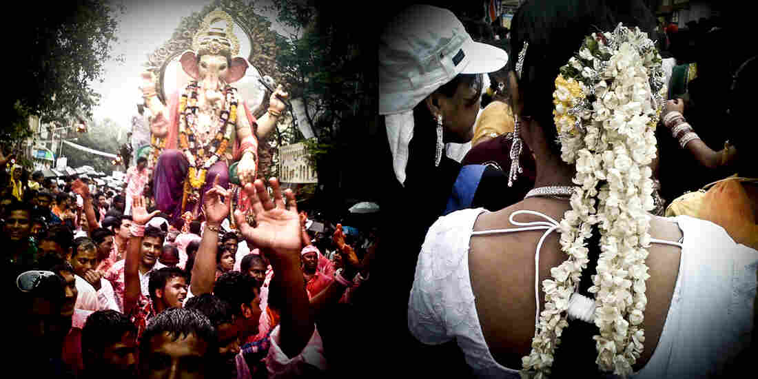 At left, one of the many processions of Lord Ganesh; at right a woman decorates her hair with fresh jasmine.