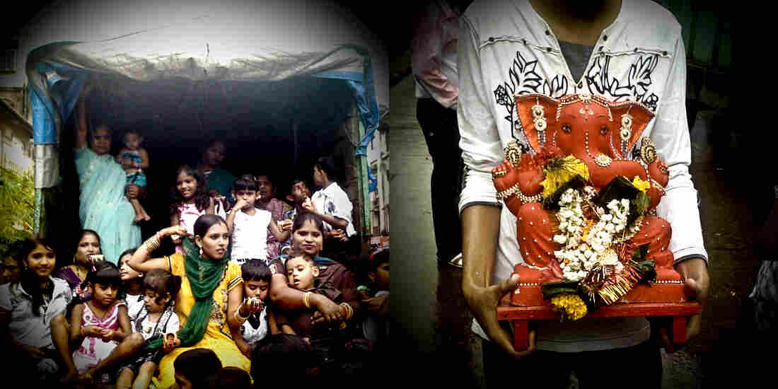 At left, women and children are spared from the monsoon rains; at right, a smaller Ganesh idol decorated with flowers and gold jewelry.