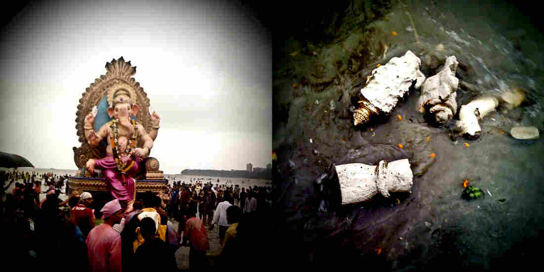 At left, a statue at the base of the Arabian Sea ready to be immersed; at right, pieces of immersed plaster statues scatter the sea front.