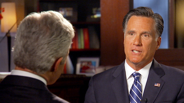 Mitt Romney talks with 60 Minutes correspondent Scott Pelley. (AP)