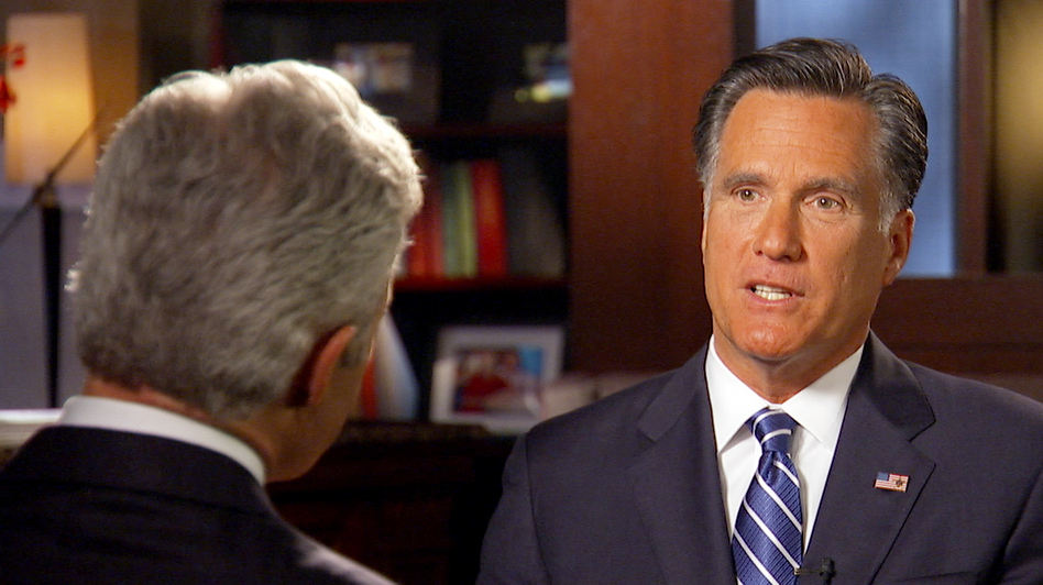 Mitt Romney talks with 60 Minutes correspondent Scott Pelley. (AP)