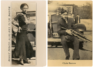 "Undated photos show Bonnie and Clyde posing in front of the Ford V8 ""flathead"" car they favored. The photographs are among the couple's memorabilia up for auction."