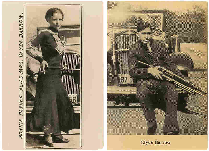 """Undated photos show Bonnie and Clyde posing in front of the Ford V8 """"flathead"""" car they favored. The photographs are among the couple's memorabilia up for auction."""