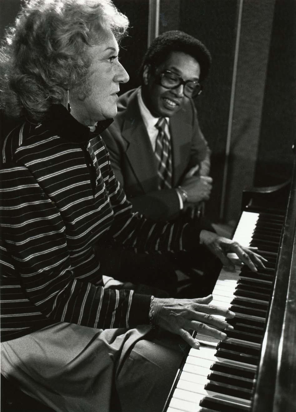 Billy Taylor, a fellow NPR jazz program host, was McPartland's first guest on-air. (SCETV)