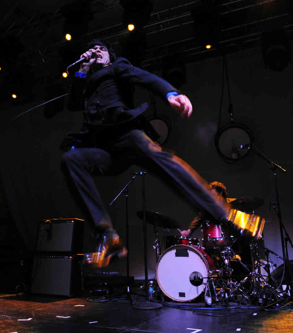Singer Ian Svenonius of The Make-Up performs All Tomorrow's Parties Festival on September 23, 2012 in New York City.