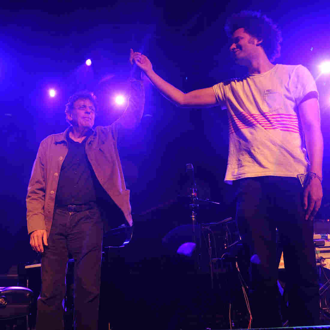 Philip Glass and Tyondai Braxton after their performance at All Tomorrow's Parties in New York City.