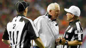 Denver Broncos Coach John Fox yells at field judge Jimmy Buchanan during the Broncos' game against Atlanta Monday. Referring to the game, the NFL insisted that players and coaches give replacement referees, and the game, more respect.