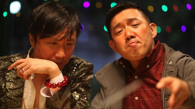 Guangxi gangster Brother Tyrannosaurus (Ronald Cheng, left) agrees to back a film for producer To Wai-Cheung (Chapman To) — with a few conditions.