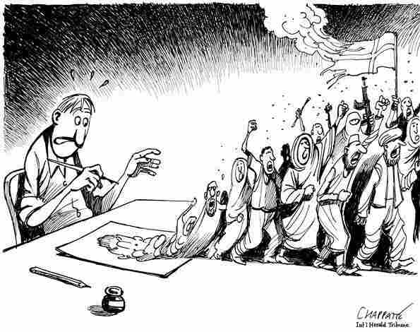 Patrick Chappatte made this drawing for the International Herald Tribune back in 2006, following a controversy over Danish cartoons that mocked the Prophet Muhammad.