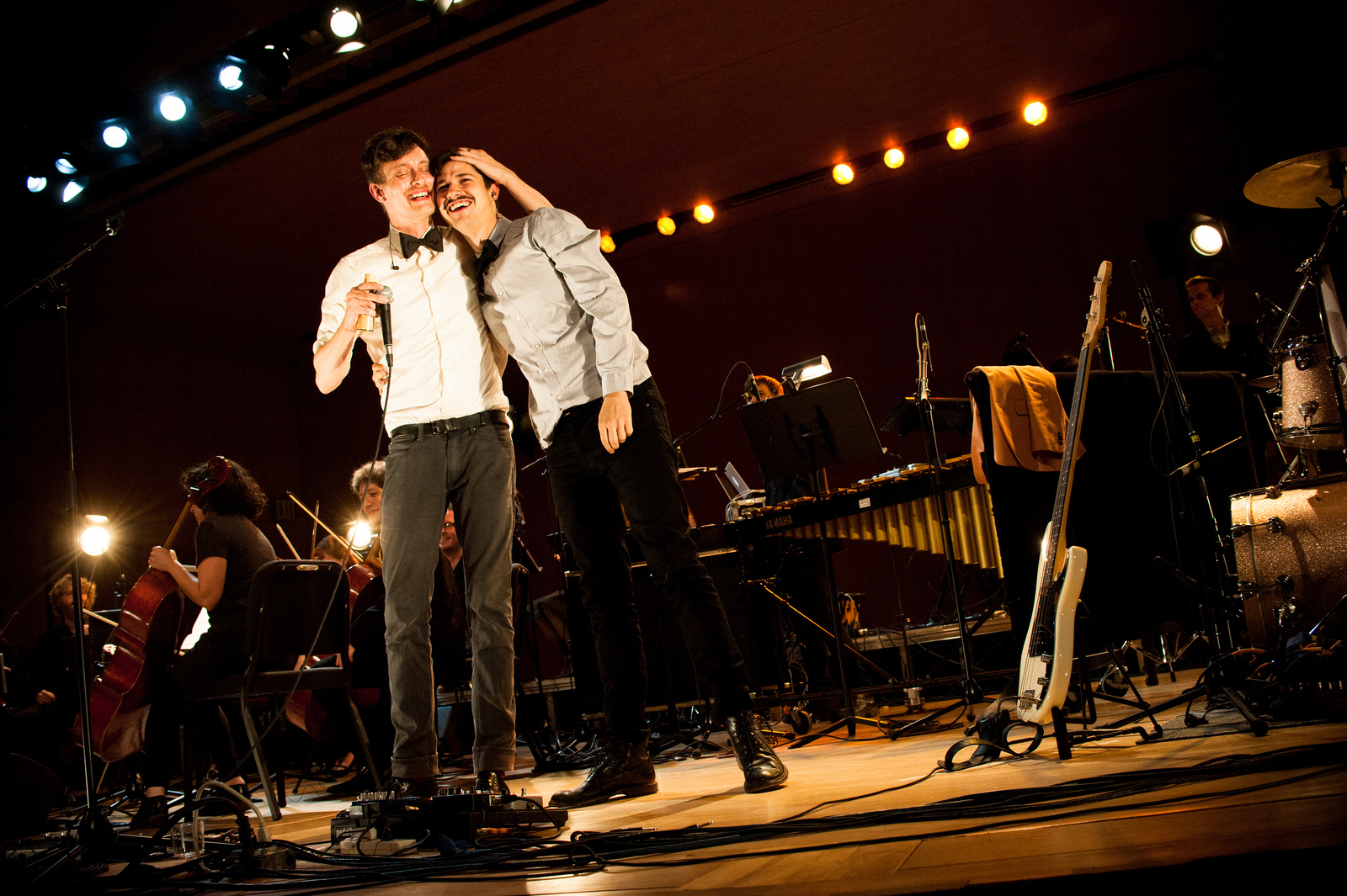 Efterklang's Mads Brauer and Casper Clausen celebrate at the end of the show.