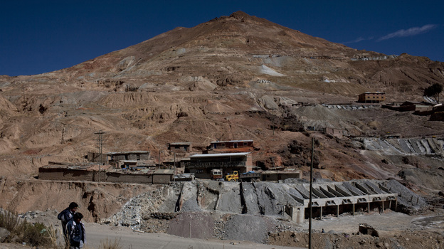 Cerro Rico, or Rich Mountain, rises like a monument in Potosi, Bolivia. It has produced silver, and hardship, for centuries. Now it may be in danger of collapse. (Carlos Villalon for NPR)