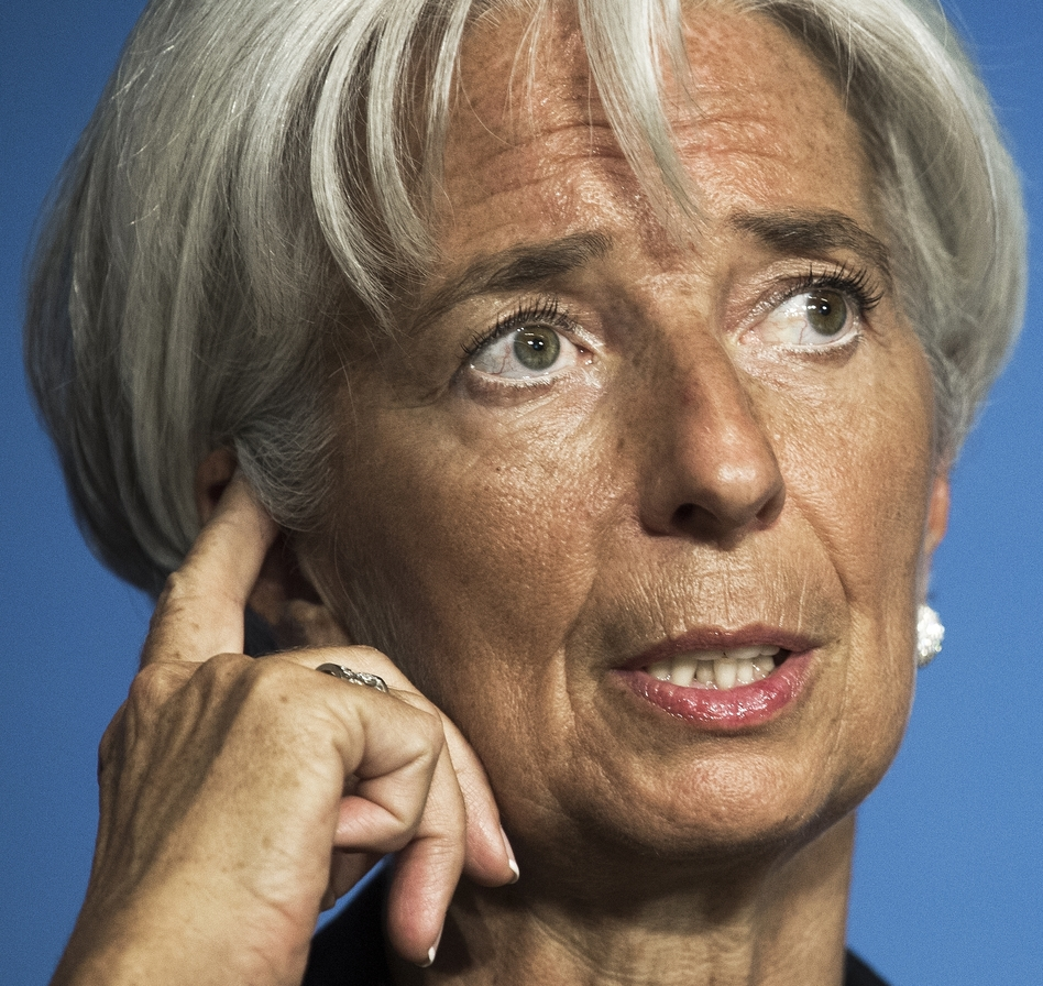 International Monetary Fund Managing Director Christine Lagarde delivers remarks at the Peterson Institute for International Economics on Monday in Washington, D.C. Lagarde said there are a number of factors eroding growth.